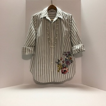 Striped shirt embroidery